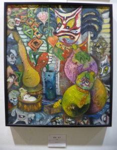 まずは3期に展示された、喜納ちゃんの作品です。狐の大モチーフの時の作品です。見覚えのある方も多いかもしれません。構成的にもマティエール的にも大 変優れています。冠賞こそこの作品!ですね。額もよく合っています。