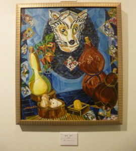 そして同じく4期の野中さんの作品です。喜納ちゃんと同じモチーフです。表現の違いが面白いですね!キュビズム的に処理された狐のお面が迫力ありま す。和風な感じの額が作品世界を引き立てていました。