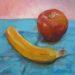 ユキコちゃんの初油彩画・リンゴとバナナと青い布