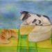 絵画教室で描く!かなちゃんの牛とチーズの水彩画F4