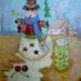 絵画教室で描く!サチコさんの夏のクリスマスのアクリル画・B3ボード